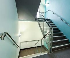 B10 wall-mounted handrail and glass infill balustrade