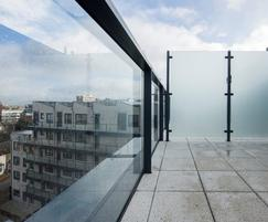 Balustrade with glass panels aid visibility