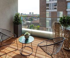 Glass balustrades enable clear views of London