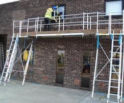 Platform for access to fascia, soffits and gutters