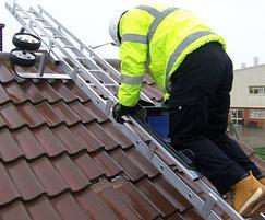 Solar installations made safer using bridging ladder