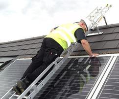 Solar installation using bridge ladder