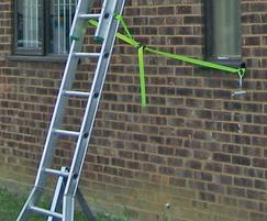 Platform Ladder tied to building for stability