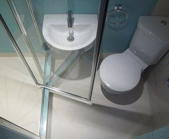 Shower, sink and corner toilet - student accommodation