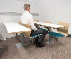 Person swiveling on Plasawood Interactive Lecture Seat.