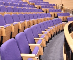 Lecture theatre seating with solid hardwood arms