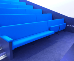Flexible bench seating in auditorium
