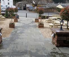 Stone paving for beer garden at Pooley Bridge Inn