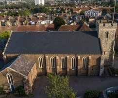 Historic church roof renovation with new slates