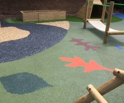 Rubber mulch safety surfacing for playgrounds