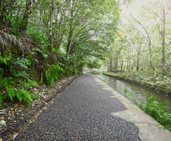 Rubber-gravel mix surfacing for Huddersfield canal path