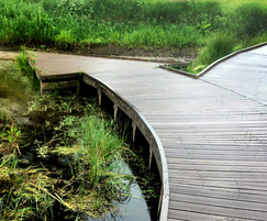 Recycled plastic boardwalks for wildlife area
