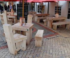 Cranham oak railway sleeper bench and table branson for Outdoor furniture epping