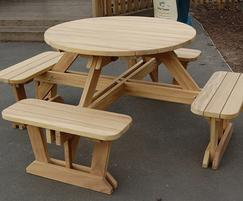 Round Iroko Seater Picnic Table And Benches Branson Leisure - 8 seater round picnic table