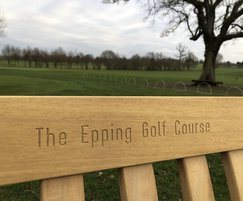 Bespoke timber seat with engraving - Epping Golf Course