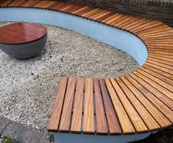 Bespoke curved iroko wall seat