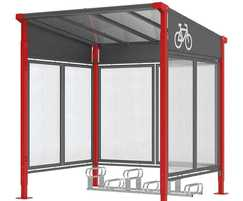 Milan cycle shelter  in red