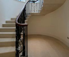 Cast iron balusters and mild steel panels