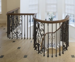 The balustrade has a classical design