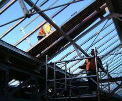 Installing patent glazing system at railway station