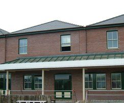 Glazed entrance canopy at Welsh train station