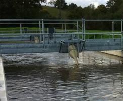 Bracket-mounted spiral aerators in new oxidation ditch