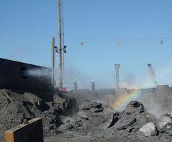MistCannon dust suppression at steel slag tip