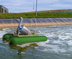 A Corgin Spiral Aerator in a landfill leachate lagoon