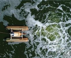 Corgin spiral aerator at landfill leachate lagoon