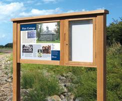Oak Bowman interpretation display with cabinet