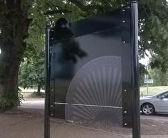 Back panel detail on welcome sign at Verulamium Park