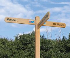 Multi directional fingerpost with logo detail