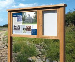 Side mounting noticeboard with interpretation display