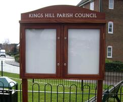 Hardwood parish noticeboard with header board