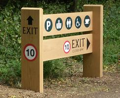 Oak ladder sign with traffic and pedestrian messaging