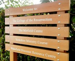 Wood effect recycled plastic ladder sign