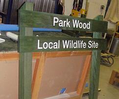 Twin slat wooden ladder sign