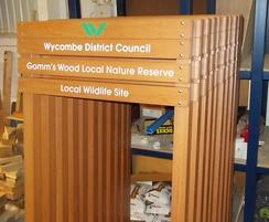 Man-made timber ladder signs for Wycombe Council