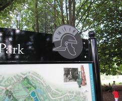 Welcome sign with Roman detail at Verulamium Park