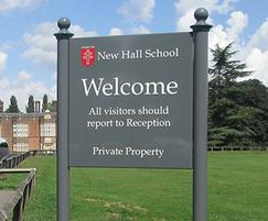 New Hall School's welcome sign