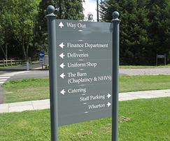 New Hall School's directional exit sign