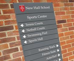 New Hall School external wall-mounted slat signs