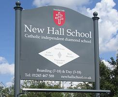 New Hall School metal sign with finial