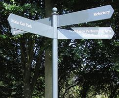 New Hall School modular metal fingerpost with pointers