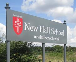 New Hall School name panel