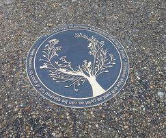 Circular bronze interpretative plaque