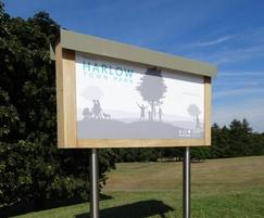 Graphic panel in bespoke structure for Harlow town park