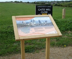 Musketeer timber lectern signs at Farthing Downs