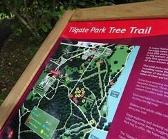 Twin leg oak lectern nviro graphic panel tilgate park