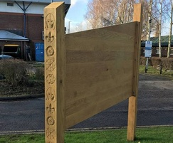 Oak routed welcome sign